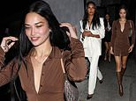 Shanina Shaik puts on a leggy display in brown minidress as she steps out with Jasmine Tookes
