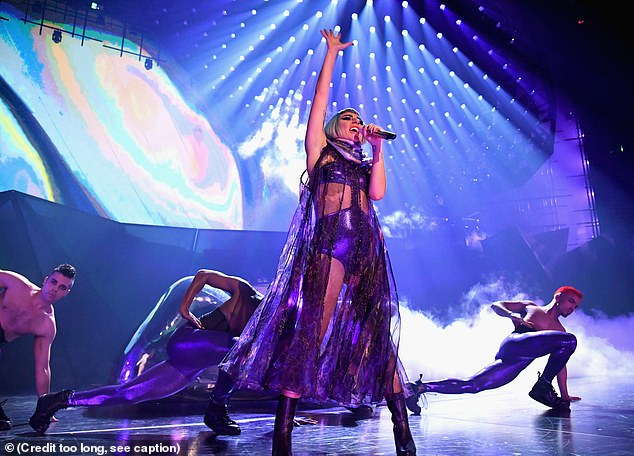 Eye-watering: The Oscar-winning star is set to earn an eye-watering '£750k a night' when her Jazz & Piano residency kicks off (pictured during her 2018 Las Vegas residency)