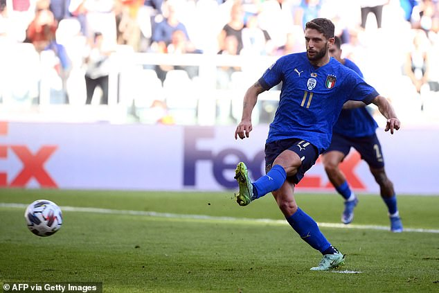 Domenico Berardi slotted home a penalty in the 65th minute to make it 2-0 to Italy