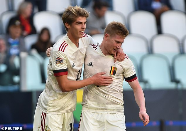 De Ketelaere celebrates scoring his first international goal for Belgium with Kevin de Bruyne