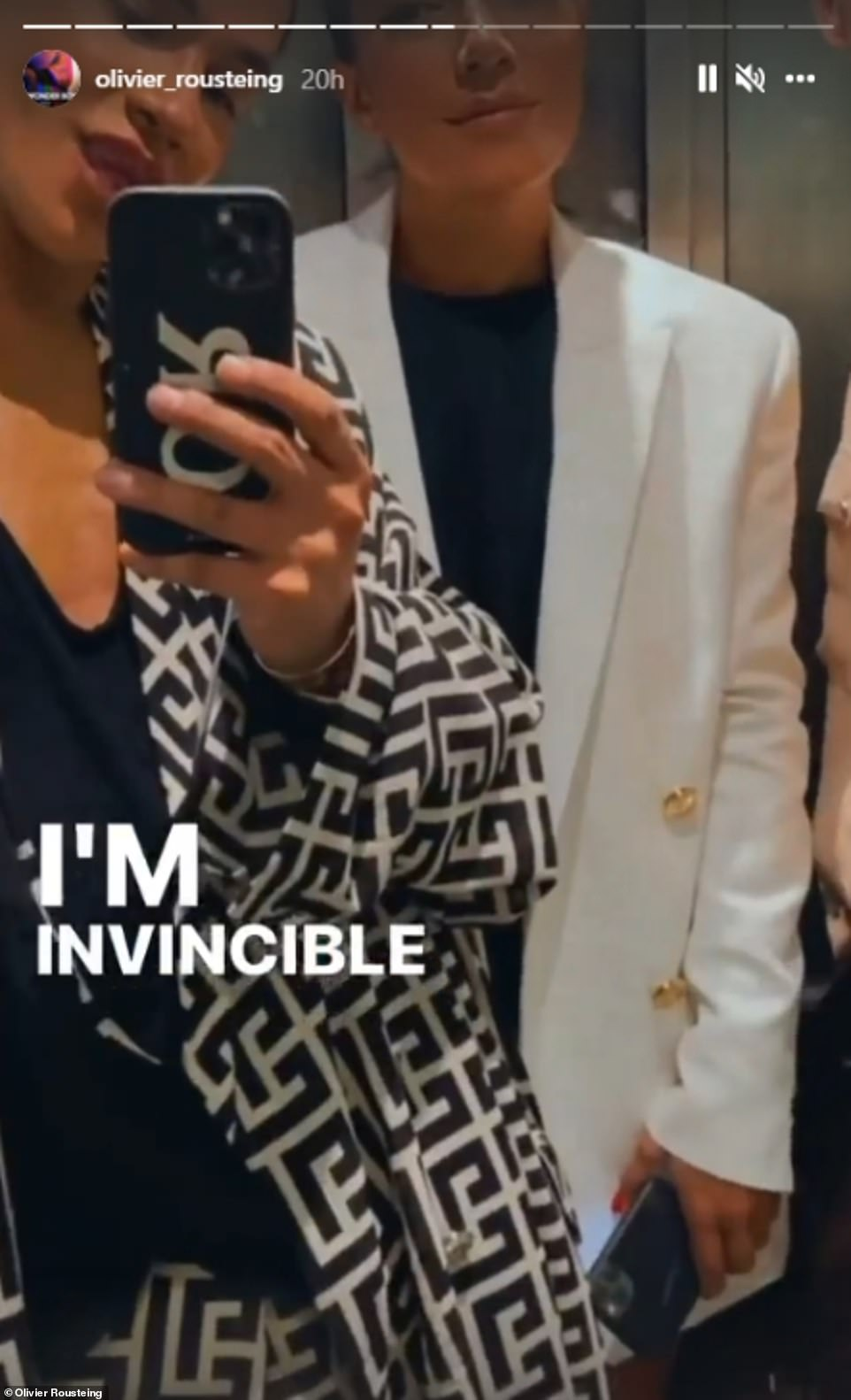 He also shared a snap of himself next to a female friend while the words 'I'm invincible' flashed up on-screen