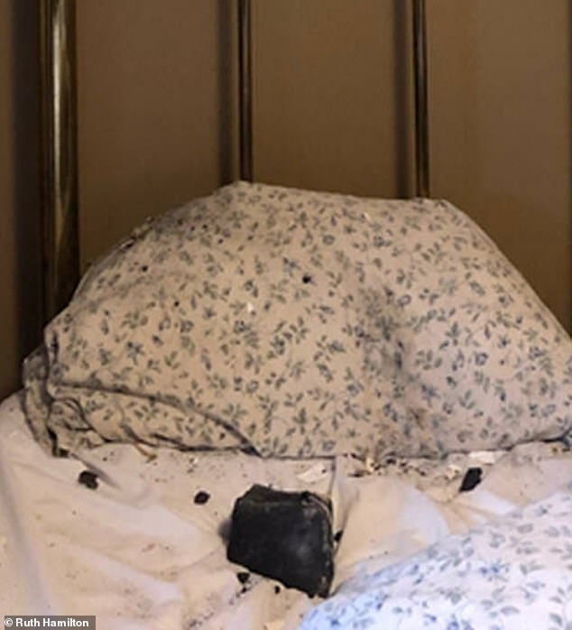 Ruth Hamilton of Golden, British Columbia woke up to a meteorite beside her on October 4