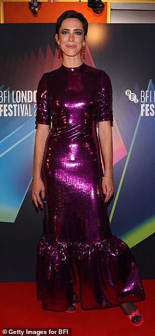 Wow! Rebecca Hall dazzled as she walked the red carpet in a purple sequin dress for the premiere of Passing at the London Film Festival
