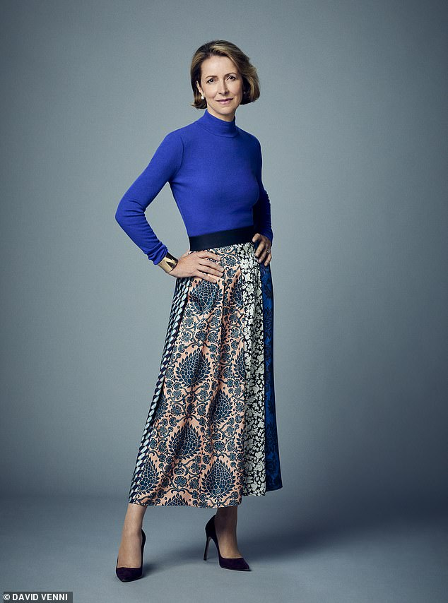Helena said that whether we like it or not, successful women need to build and showcase a personal brand.  Pictured: MAX MARA Blue Knit, £180, and Midi Skirt, £250, available at fenwick.co.uk