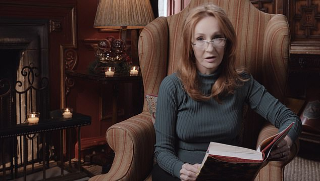 The Christmas Pig will be published tomorrow in time for Christmas and here J.K. Rowling details how the tale was inspired by son. Pictured: Rowling reads extracts from her new book