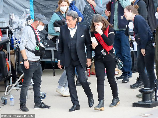 He's back!Keanu's co-star Ian McShane was also seen during the daytime shoot
