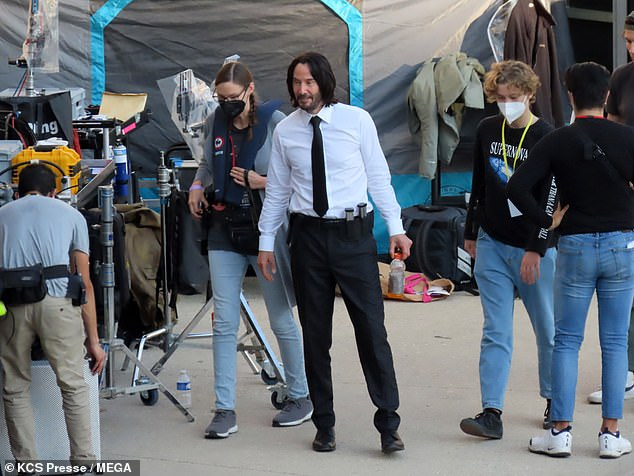 On location: Keanu Reeves was seen on the set of John Wick: Chapter 4 in Paris on Saturday
