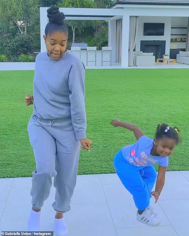 Dance it out:The actress and her adorable two-year-old daughter Kaavia showed off their best dance moves during an impromptu backyard dance party as they ended the weekend on a high note