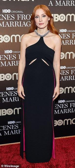 Glam: Her dress' neckline was jewel-encrusted