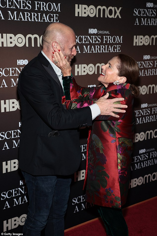 Hugs: Levi and Feldshuh embraced as they caught up