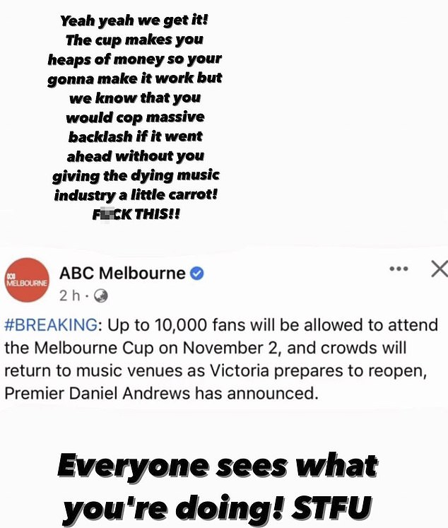 Post:The 27-year-old singer, whose real name is Toni Watson, slammed the government for allowing thousands of punters to watch the Melbourne Cup while shutting down music events