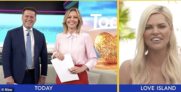 Segment:The 47-year-old was interviewing Love Island Australia host Sophie Monk about the highly-anticipated new season when sherevealed two couples 'hooked up' on the first night in the villa