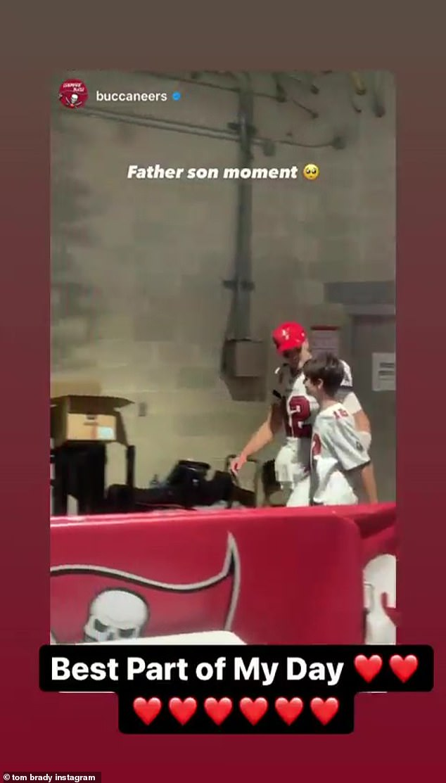 The latest:Tom Brady, 44, and his son Jack, 13, had a sweet moment following his victorious effort on the field Sunday, heading back to the locker room at Raymond James Stadium Sunday after the team's 47-15 win over the Miami Dolphins