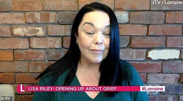 'People think I should get over this by now': tearful Lisa Riley admits she felt 'justified' for continuing to mourn for her mother nine years after her death during an appearance on Lorraine do