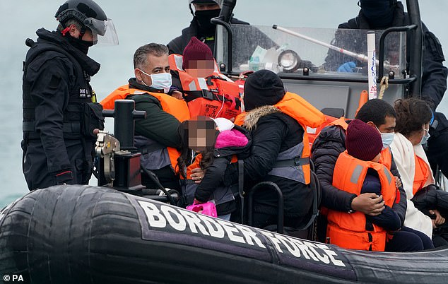 Alarm has been growing about the Channel situation, with more than 1,000 people making the dangerous trip from France to the UK in small boats in just two days last week. Pictured, Dover on Saturday