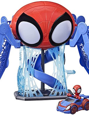 Celebrate Spidey and His Amazing Friends with this talking Web-Quarters playset, the ultimate web communications headquarters, fun hangout, helipad, web jail, and more