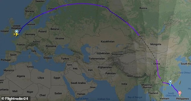 A 12-hour flight (flight map pictured) from London to Hong Kong saw 100 passengers diverted to Manila amid Tropical Storm Lionrock before eventually landing in Hong Kong 36 hours later