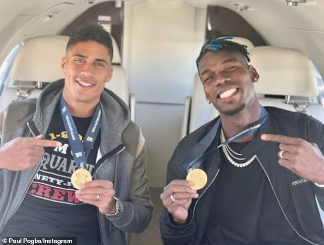 Paul Pogba and Raphael Varane looked elate as they posed with their Nations League medals