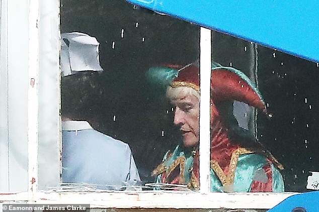 On set:Steve Coogan was pictured wearing a jester outfit on Monday as he filmed scenes in character as Jimmy Savile for controversial new series, The Reckoning
