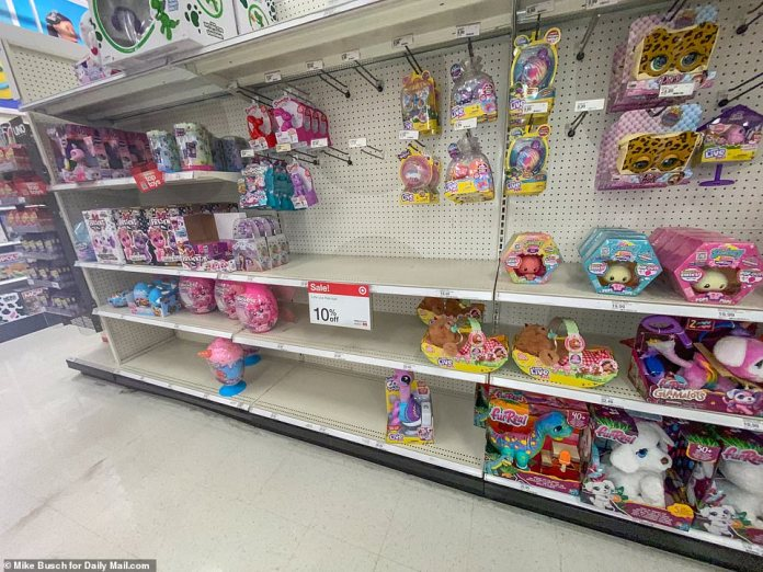 NEW YORK: A Target store in Meford with half-empty shelves in the toy section. Toy manufacturers who produce goods in Asia are particularly affected by the issues. Some said they have $8million worth of goods just sitting in factories and warehouses in China, waiting to be shipped to the US for exorbitant cost