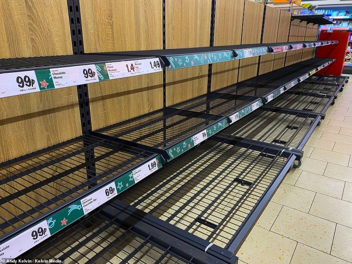 A Lidl Store near Wrexham are empty shelves on the Christmas produce aisle this morning. It is not known if the stock had all sold out or was waiting to be refilled