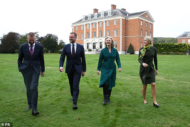 Edgars Rinkvis (left), Gabrielius Landsbergis (centre) and Eva-Maria Liimets (right) - foreign ministers of Latvia, Lithuania and Estonia respectively - were all at Chevening today
