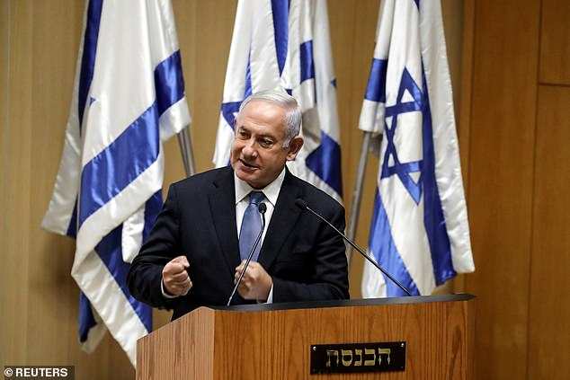Opposition leader Benjamin Netanyahu speaks at the inaugural event on Monday