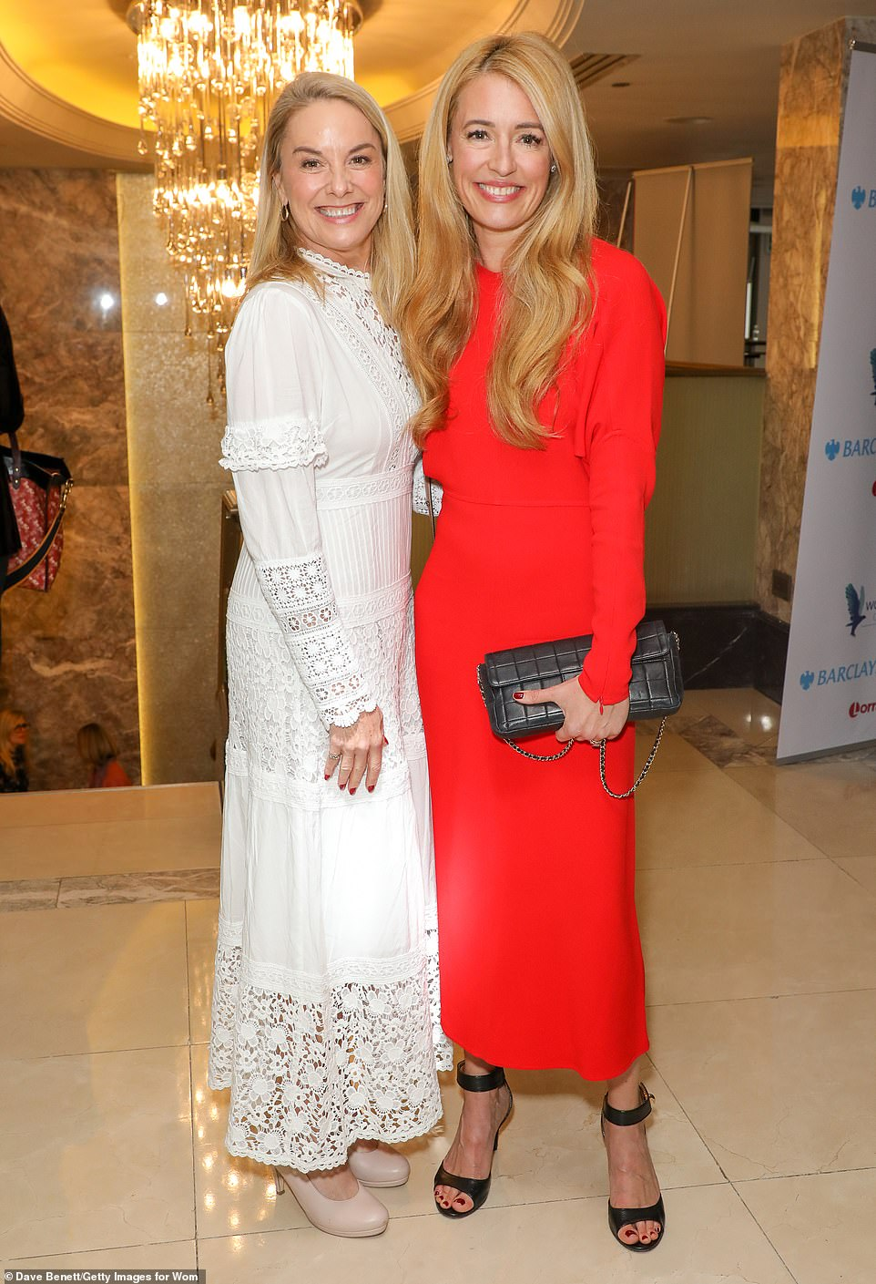 Say cheese: Tamzin and close friend Cat beamed as thy posed for photos at the annual event on Monday afternoon