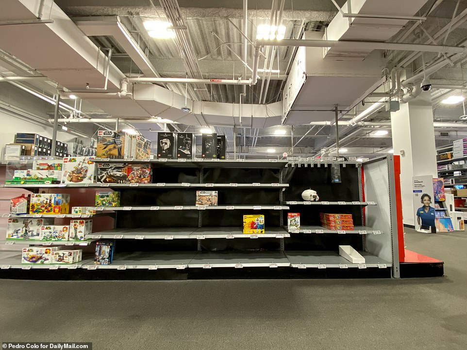 LOS ANGELES: Empty shelves at a Best Buy in Culver City, L.A., on Friday, October 8. Toys, electrical goods and home goods are all in short supply because many are stuck in shipping containers or warehouses around the world