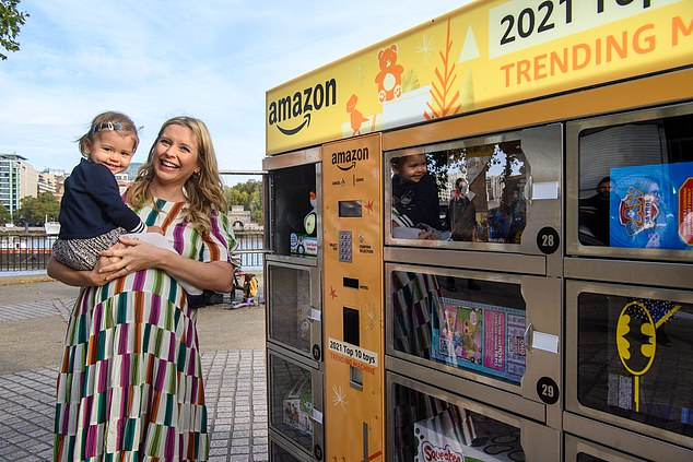 Rachel Riley and her daughter Maven had a first look at the most desirable toys in Amazon's bespoke 'Trending Machine' in London this morning
