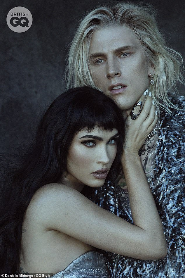 Ghostly love:Megan Fox and boyfriend Machine Gun Kelly have certainly made a statement on the cover (and in an interview) for British GQ, posing in a provocative shoot and gushing over one another
