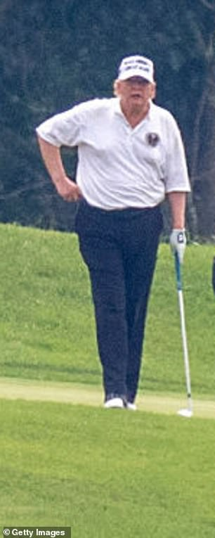 Trump golfs at his Virginia club on August 1, 2020