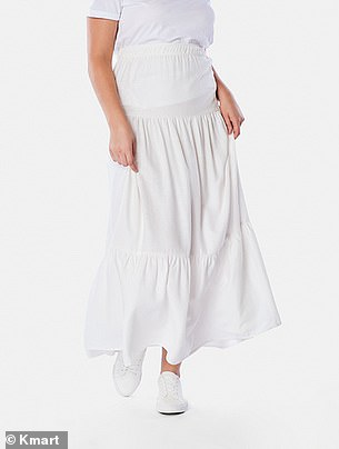 The white tiered maxi skirt retails $20