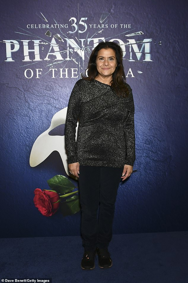 Sparkle: Nina Wadia OBE - a British actress and comedian added some sparkle in a silver glitter top with black trousers