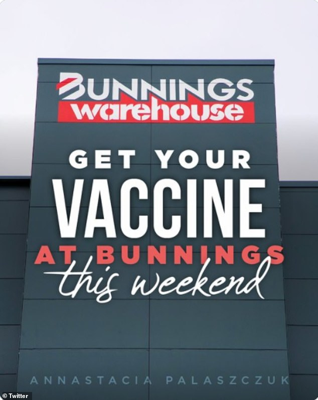 Almost two dozen pop-up vaccination clinics will be set up at participating Bunnings stores across the state on Saturday, the premier announced on Twitter (pictured)