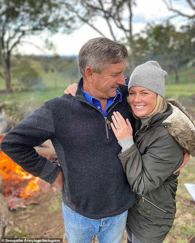 Career move: Sam Armytage (right, with husband Richard Lavender) has announced her new role at Channel Seven after stepping down as host of breakfast show Sunrise in March. She will join dating show Farmer Wants a Wife as a guest star, the network announced on Tuesday