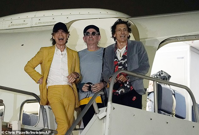 Legends: The Rolling Stones touched down at Hollywood Burbank Airport on Monday ahead of their anticipated gigs at Sophie Stadium