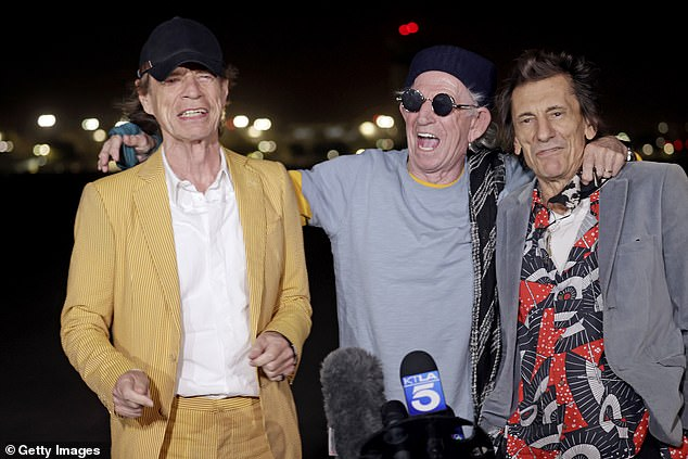 Touch Down: (from l - r) Rock icons - Sir Mick Jagger, 78, Keith Richards, 77, and Ronnie Wood, 74 - looked very high spirits
