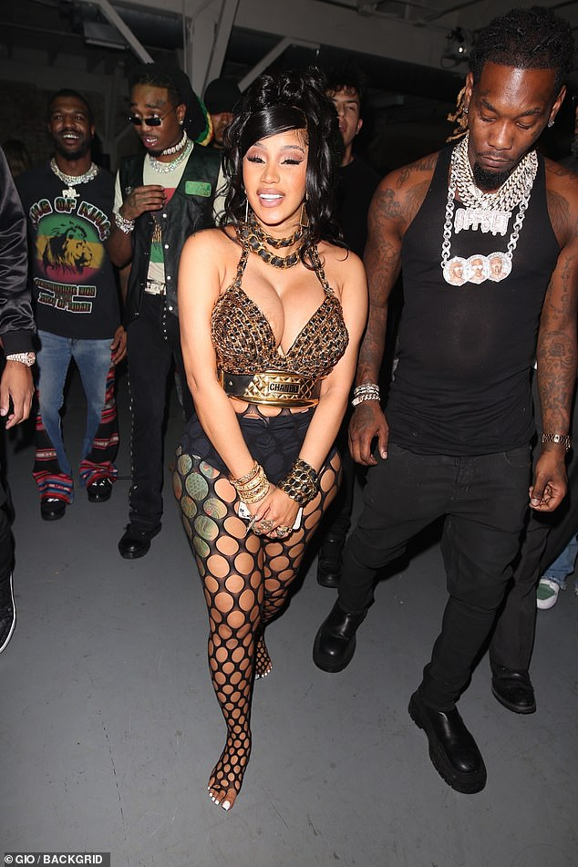 , Cardi B puts on busty display in a gold chain and black leather bra at star-studded birthday bash, The Habari News New York