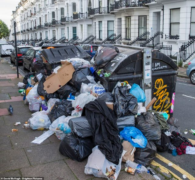 The affluent Seven Dials area is affected as well as the rest of Brighton by the ongoing bin men strike
