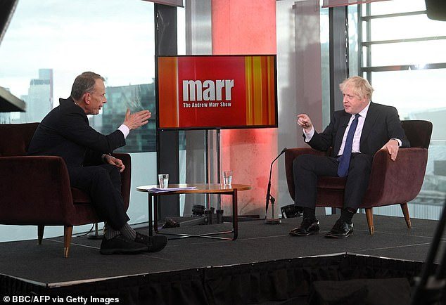 Prime Minister Boris Johnson (pictured right) appeared on The Andrew Marr Show on October 3 during which the presenter (pictured left) accused him of not telling the truth about wage growth