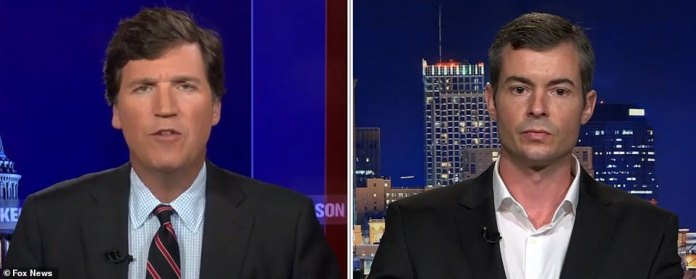 Fox News host Tucker Carlson (left) on Monday night claimed the chaos was caused by pilots striking in protest against compulsory COVID-19 vaccines.Joshua Yoder (right), the co-founder of US Freedom Flyers, told Carlson that he and other pilots should not be forced to submit to an 'illegal' mandate