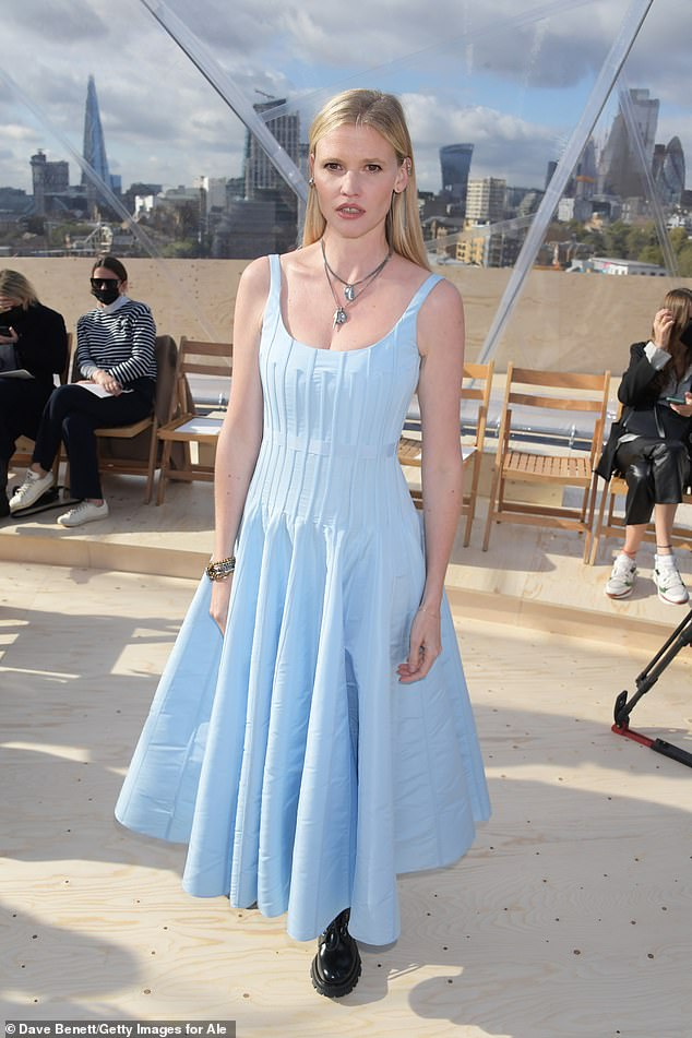, Lara Stone looks chic in pastel blue summer dress at Alexander McQueen fashion show, The Today News USA