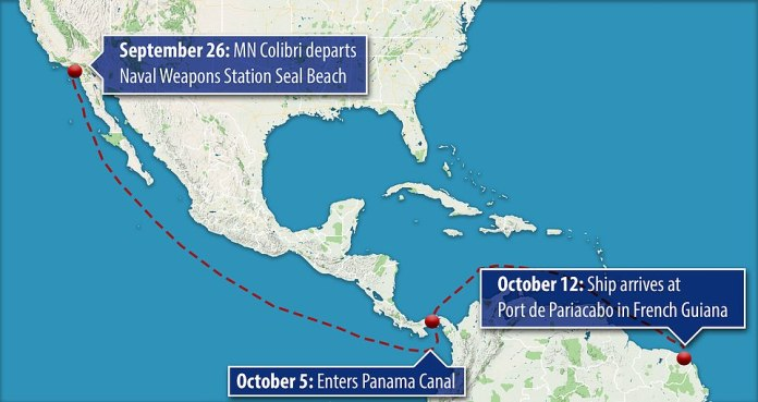 The 1,500-mile journey saw it leaving Telescope Naval Weapons Station Seal Beach on 26 September, entering the Panama Canal on 5 October, before making its way to Port de Pariacabo, French Guiana.