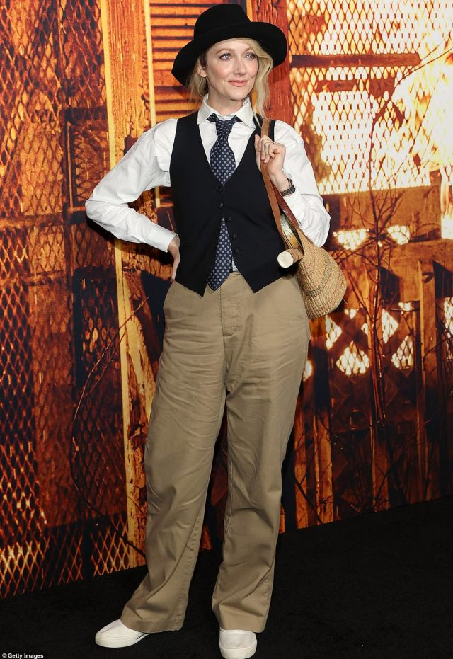 Seems like old times: Judy Greer, who plays Jamie Lee's daughter in Halloween Kills and its immediate predecessor, arrived at the event in a costume reminiscent of Annie Hall