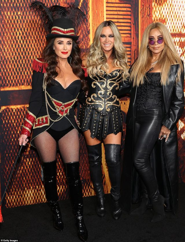 Trio: Kyle also posed up on the carpet with former Real Housewife Of Beverly Hills Teddi Jo Mellencamp as well as Nicole Brown Simpson's old pal Faye Resnick, who occasionally guest stars on the show