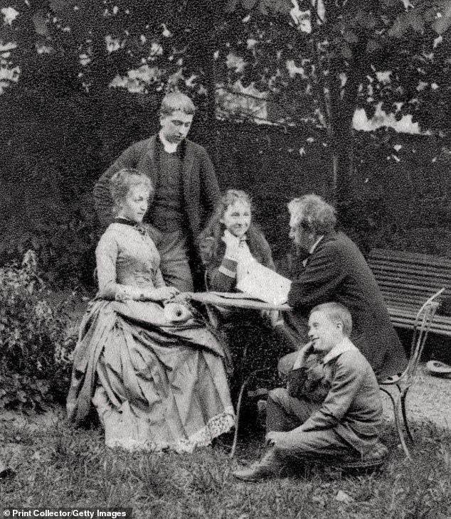 Single life:Eiffel, who was 42, wealthy and successful when he lost his wife, never remarried. Pictured, Eiffel with four of his children in 1882, five years after the death of his wife