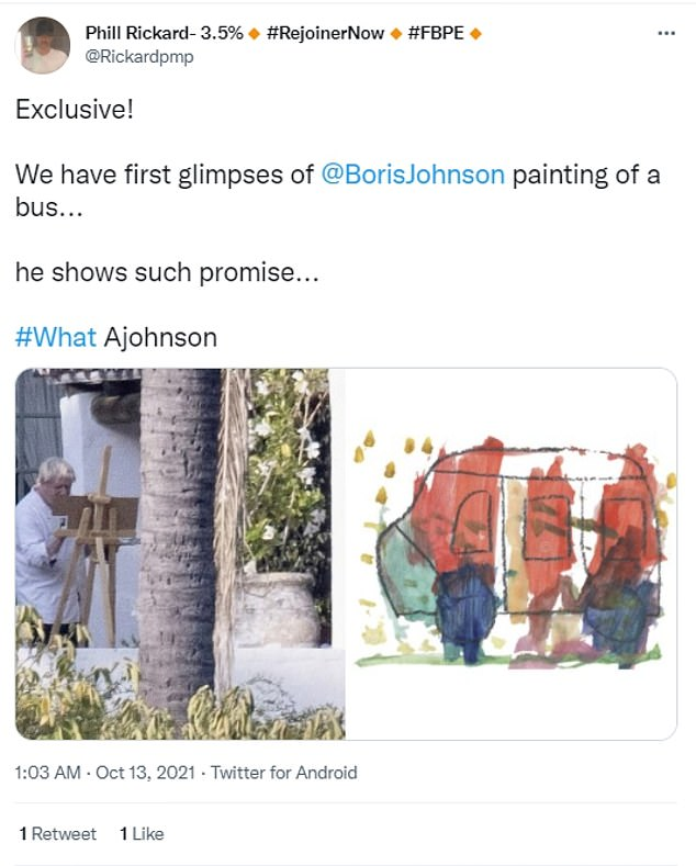Another social media user suggested that Mr Johnson could have been painting a bus