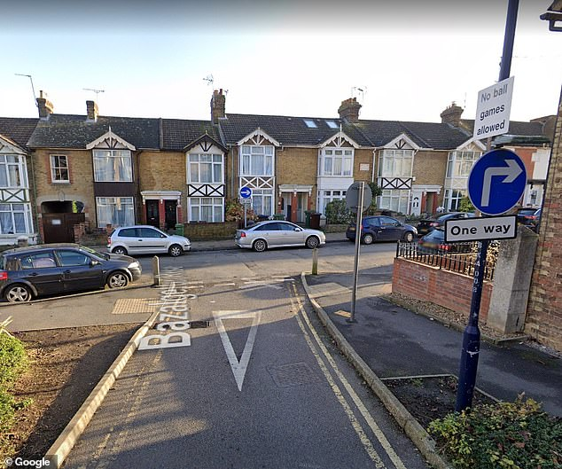 Mr Afafsa lives a few hundred yards from where Mr Pack, a social work course leader formerly of the University of Kent, was injured (Pictured: One way road where collision occured)