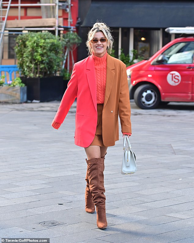 , Ashley Roberts showcases her autumn style in funky strawberry pink and orangeco-ord, The Habari News